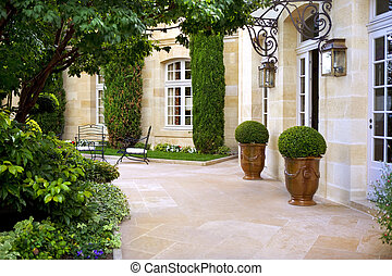 French mansion - Terrace of a French mansion near Bordeaux