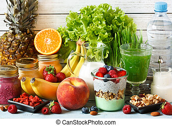 Superfood. - Healthy food concept. Fresh fruit and berries,...