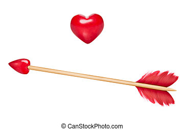 Cupid's arrows with heart - Cupid arrow with red feathers...