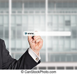 businessman touching web browser address bar with www sign