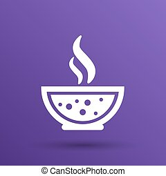 Bowl of Hot Soup with spoon Line Art. Icon isolated.