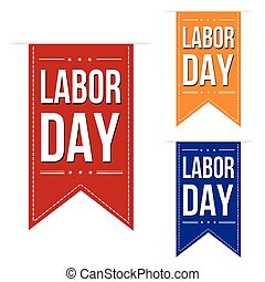 Happy Labor day banner design set over a white background,...