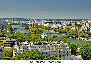 The River of Paris - Aeriel view down the Seine River from...
