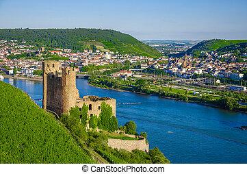Ehrenfels Castle on Rhine river near Ruedesheim - Ehrenfels...