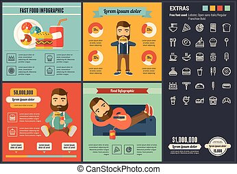 Fast food flat design Infographic Template - Fast food...