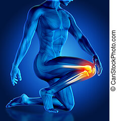 3D male holding knee in pain