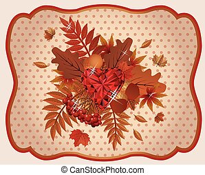 Autumn card ruby heart vintage