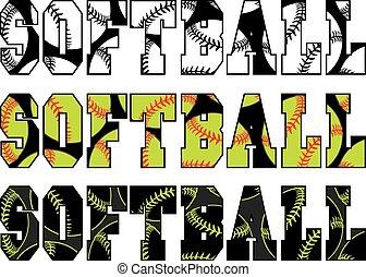 Softball Text With Softballs - Illustration of a softball...