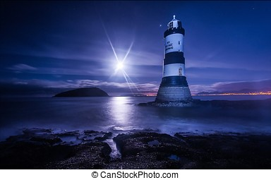Lighthouse with shining moon