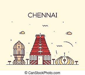 Chennai skyline trendy vector illustration linear - Chennai...