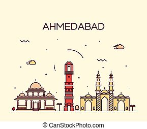 Ahmedabad skyline vector illustration linear - Ahmedabad...