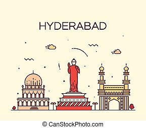 Hyderabad skyline vector illustration linear - Hyderabad...
