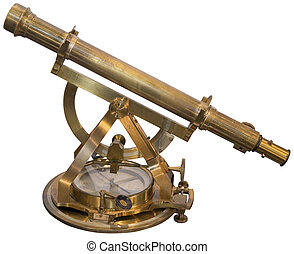 Old brass sextant cutout - Old brass sextant instrument for...