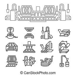 Food production simple line vector icons