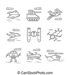 Abstract vector icons for military drones - Flat line icons...