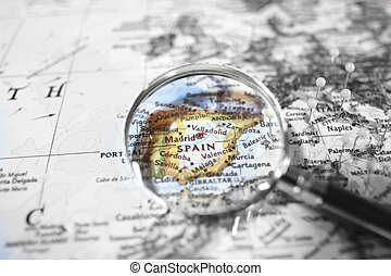 Spain - The detail of the map of Spain
