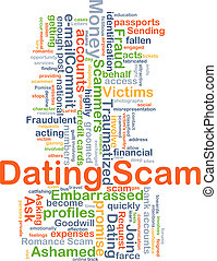 Dating scam background concept