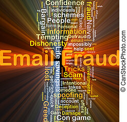 Email fraud background concept glowing
