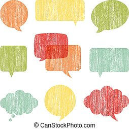 Crayon Word Bubbles - Set of word bubbles with a crayon...