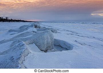 naturale, sculture, congelato, lago, Ghiaccio, tramonto,  huron