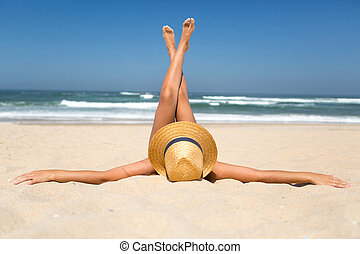 Vacations! Finally! - Beautiful young woman relaxing at the...