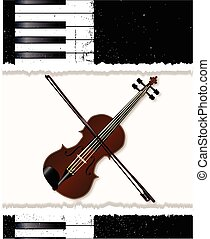 Piano And Fiddle Poster - Black and white piano keys and...