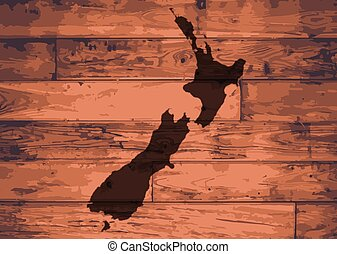 New Zealand Brand - New Zealand outline map brand on wooden...