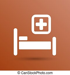 Hospital bed and cross, vector icon doctor health care.