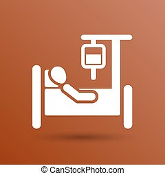 Hospital stretcher bed iv icon recovery injecting...