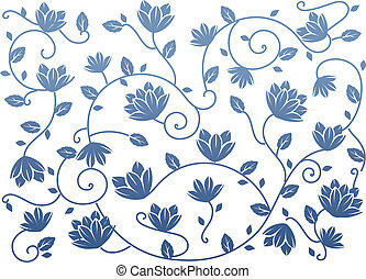 blue seamless lotus background - drawing of blue lotus...