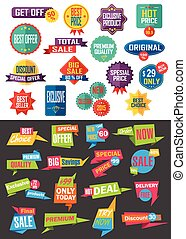 Big collection of Sale and Discount Offers labels, badges and stickers.