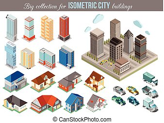 Big collection for isometric city buildings. Set of 3d isometric cars, tall buildings and private houses icons for map building. Real estate concept.