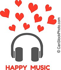 gray headphones with red heart