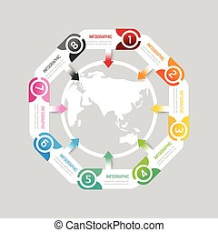 infographic modern banner button with world map icon design...