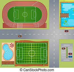 Sport fields and courts illustration