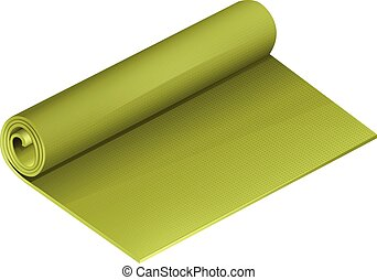 Green yoga mattress roll illustration