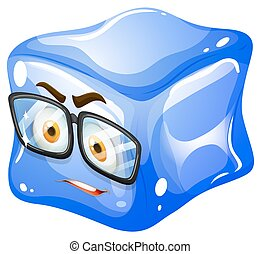 Ice cube with glasses illustration