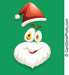 Santa face on green illustration