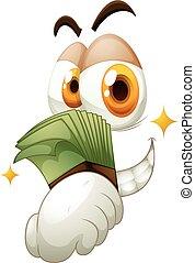 Money in hand on white