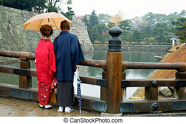 Japanese couple with Kimono - The back view of Japanese...