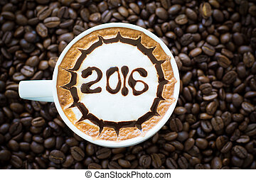 hot coffee with foam milk art 2016 pattern