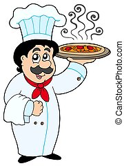 Cartoon chef holding pizza - isolated illustration.