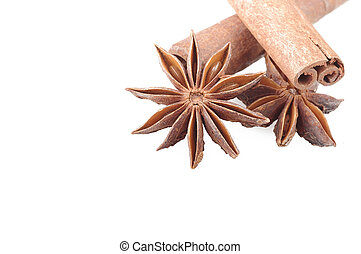 Cinnamon stick - cinnamon stick and star anise spice on the...