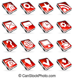 Web icons. - Set of 16 red web icons.