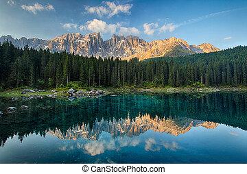 Lake with mountain forest landscape, Lago di Carezza