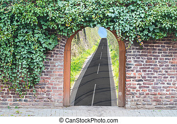 Photomontage, entrance gate in a wall - Photomontage, a gate...