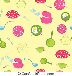 Seamless Background with Kitchen Cooking Utensils and Dishes