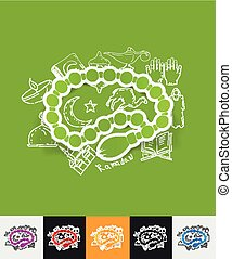 rosary paper sticker with hand drawn elements - hand drawn...