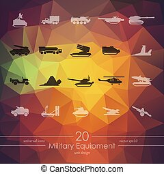 Set of military equipment icons - military equipment modern...