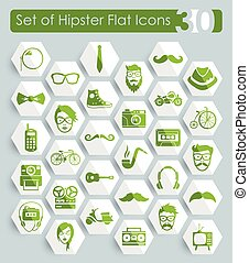 Set of hipster icons - Set of hipster flat icons for Web and...